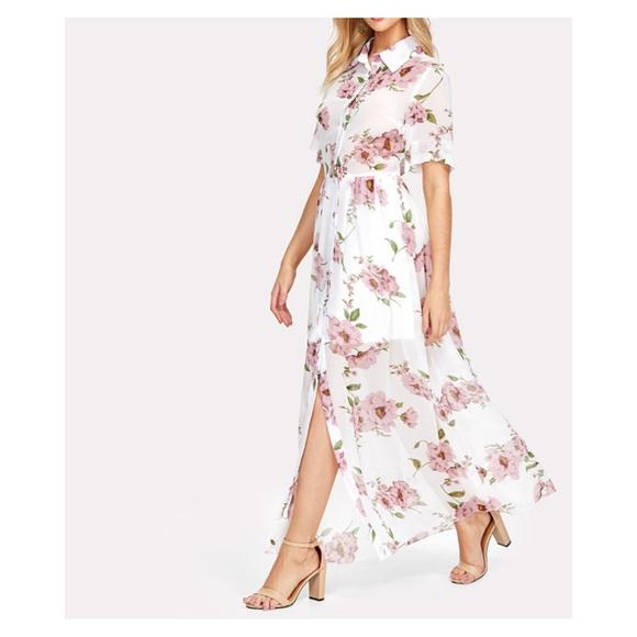 White Floral Button Down Maxi Shirt Dress